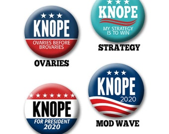 "Leslie Knope Button for Your Halloween Costume - 2.25"" Circle - Funny Parody for President -- 2020 Election political humor"