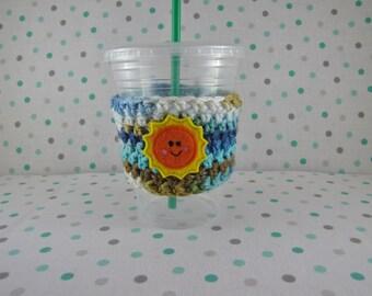 Sun Cup Cozy, Crochet Cup Cozy, Feltie, Knit Cozy, Coffee Sleeve, Reusable Coffee Cozy, Summer Cozy, Knit Cup Cozy, Coffee Cover, Starbucks