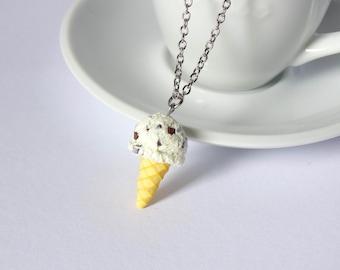 Kawaii chocolate stracciatella icecream cone necklace charm pendant sweet cute handmade polymer clay