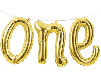 "Gold ONE Script 12"" Balloon Phrase Banner Kit AIR FILL Foil Mylar 1st First Birthday Party Decorations Decor Backdrop Photo Prop"