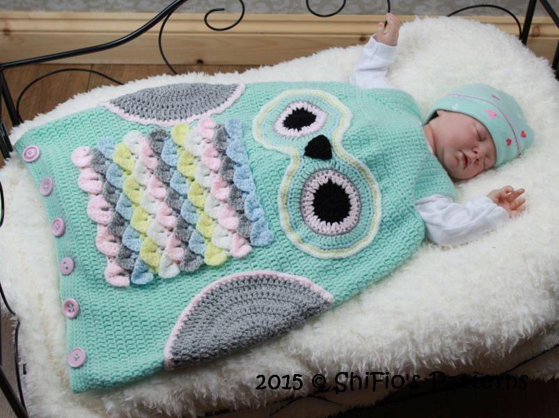 Crochet Pattern For Owl Baby Sleeping Bag Sack In 3 Sizes Uk