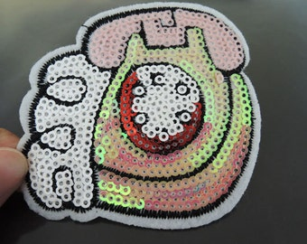 Iron on Patch - Metallic Pink Telephone Patch Iron on Applique Embroidered Patch Sew On Patch