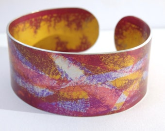 Purple pink and gold anodised aluminium cuff bangle