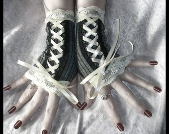 Vision of Veronica Victorian Fingerless Gloves Corset Laced Up in Dark Grey w/ Black Pinstripes & Lace | Vampire Belly Dance Romantic Lolita