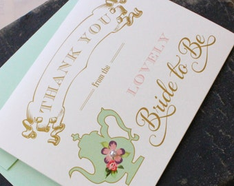Thank You Card - Tea Party Bridal Shower - Design Fee