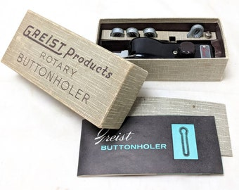 Vintage 1950s Greist Products Rotary Buttonholer Attachment for Sewing Machine Ref. 19682