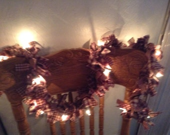Burgundy and tan garland with lights  10 foot long