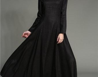 Black Dress, Maxi Dress, Maxi Linen Dress, Black Maxi Dress, Long Linen Dress In Black, Black Linen Dress, Winter Dress, Prom Dress