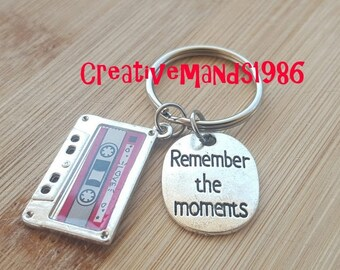 Remember the moments keychain, mixed tape, cassette tape, retro, 80's, 90's, Christmas, Stocking Stuffer