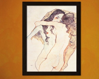 Zwei sich umarmende Frauen 1911 Egon Schiele Print - Fine Art Print Retro Home Decorating Home Decor Home Decorating Expressionism