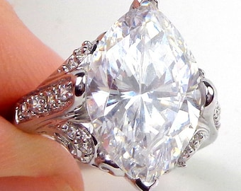 Sz 7, Solid 14k White Gold, Ornate Design Ring, Large Brilliant, (Clear,) Marquee Cut Solitaire, Hallmarked 14K