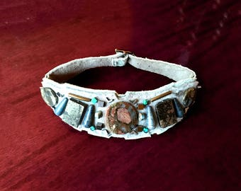 The EMBELLISHED COLLAR by Gilded-Mane: Jasper, Lapis, Pyrite and Turquoise Beads on Grey & Sky Blue Leather