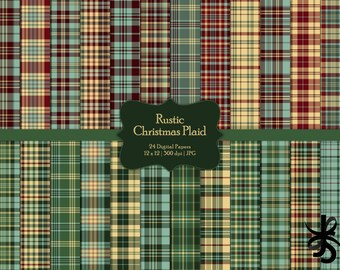 Rustic Christmas Plaid-Commercial Use-Digital Papers-Holiday-Plaid-Red-Green-Preppy-Winter-Flannel-JPG-Digital Scrapbook-Instant Download