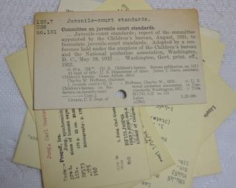 Library Card Catalog Cards, Vintage  (10) - Dewey Decimal System