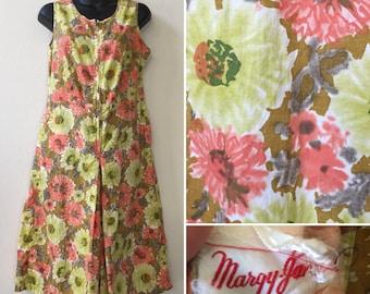 1960s romper, vintage romper, floral romper, large romper, culotte loungewear, hippie romper, summer romper, vintage one piece, Margy Jane,