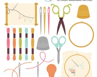 Cross Stitch & Embroidery Clipart Set - sewing, stitching, scissors, threads, thimble - personal use, small commercial use, instant download