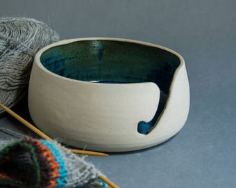 Ceramic yarn bowl for knitting . Small size Blueberry blue pottery Yarn Storage. Present for knitter. Inexpensive Crochet bowl.