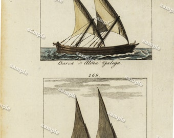 original Antique hand Colored Engraving of Ships dated 1780's