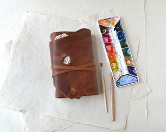 Rustic Leather Journal with Lace and Watercolor Paper