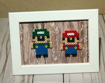 Mario and Luigi Framed Sprite Art