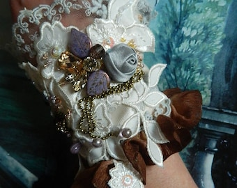 Romantic cuff adorned, embroidered, beaded, satin roses, lace