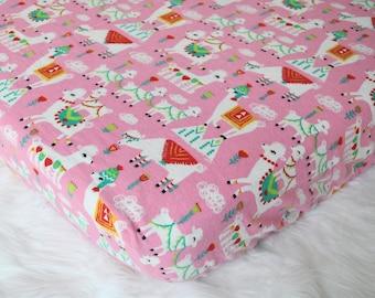 Llama Crib Sheet, Fitted Crib Bedding, Pink Llamas,  Flannel, Colorful Animals, Toddler Sheet
