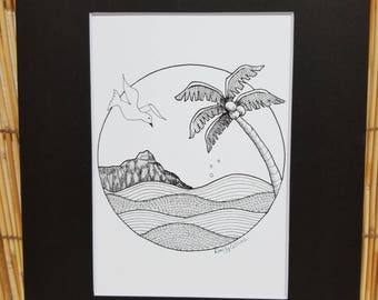 Pen & ink print Hawaii and Diamond Head crater