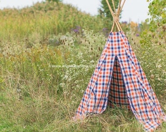 SALE Orange and Navy Checkered Teepee in Playtent Size