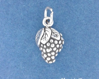 Bunch Of GRAPES Charm .925 Sterling Silver, Grape Vine, SMALL Fruit Pendant - lp3637
