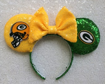 Green Bay Packers  Mickey Mouse Minnie Mouse Ears Headband Green Bay Packers Hair Bow