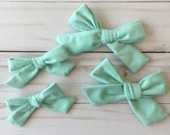 Aqua Suede Hair Bows in Large and Small/ Pigtail Clips/ Nylon Headband