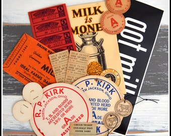 Assorted Dairy Farm Themed Vintage Papers / Tickets / Milk Caps - Vintage Ephemera