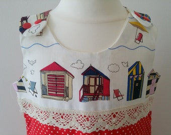 Beach Hut Cotton Pinafore Dress for 4 Year Old Ships worldwide