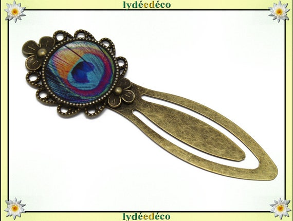 Bookmarks resin vintage retro brass diameter 20mm pink turquoise yellow blue Peacock feather