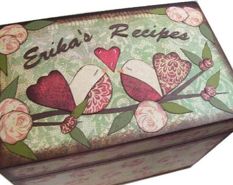 Recipe Box, Wood Recipe Box, Decoupaged Recipe Box, Bird, Owl Wedding Recipe Box, Bridal Shower, Personalized Holds 4x6 Cards, MADE TO ORDER
