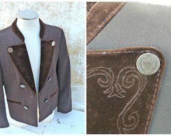 Vintage 1970s brown dirndl  jacket /Tyrol/Austria child trachten size 4 years