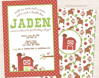 Farm Birthday Party Invitation | Farm Birthday Printable Invitation | Boy Birthday | Gracie Lee Design