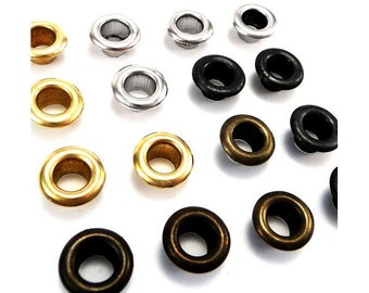 4mm solid brass eyelets with washers - silver, black, gold, antique brass, washable, AND
