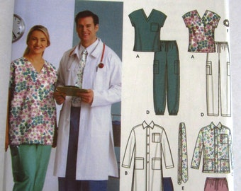 Easy Sew Womens/Mens Scrub Top, Jacket in Two Lengths, Pants, Tie, Hairband Sizes XL to XXL Simplicity Pattern 5443 UNCUT