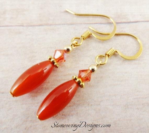 Carnelian Earrings, Carnelian and Swarovski Earrings, Gemstone Earrings, Carnelian Jewelry, Orange Earrings, Semiprecious Stone Earrings