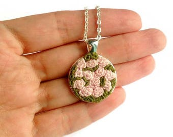 Birthday gift|for|woman fiancee Pink rose necklace Embroidery jewelry Bridesmaid jewelry Rose bouquet Embroidered necklace Silver necklace