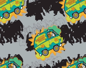 Scooby-Doo Mystery Machine in Stone Hanna Barbera Fabric From Camelot