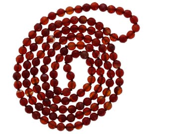 """Faceted 6mm Carnelian Necklace, 36"""" Necklace,Brown Thread, Hand Knotted,  Wholesale"""