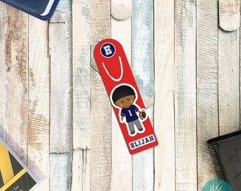 Personalized Bookmark for Kids, Personalized Football Gifts for Boys, Personalized Metal Bookmark for Books Gift Ideas for Boys Football Boy