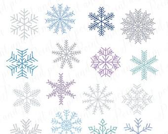 Snowflake Clip Art, Frozen glitter Snowflakes clipart, Glitter Snowflakes, Winter Holiday Clipart - Commercial Use