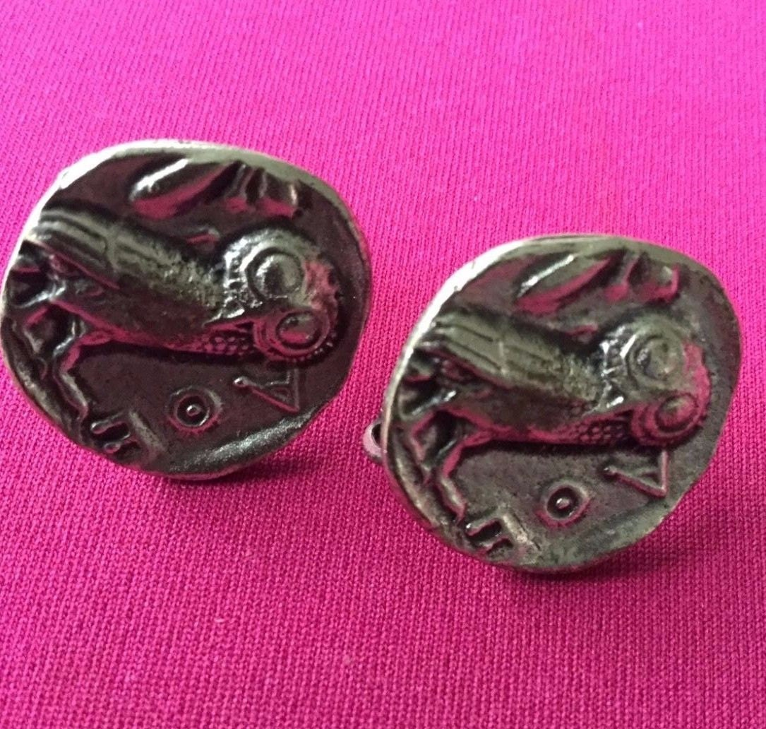 Owl Greek Coin Tetradrachm Clip On Earrings Alva Studios
