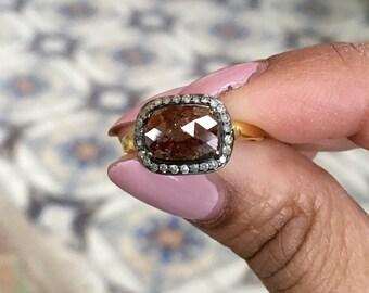 Rosecut chocolate diamond cushion cut halo diamond statement engagement ring size 5 sterling silver gold