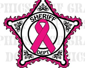 Sheriff Dept 5-star Hot pink Ribbon Breast Cancer Awareness Vinyl Decal #BC017
