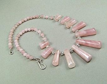 Rose Quartz Sterling Silver Collar Necklace - N727