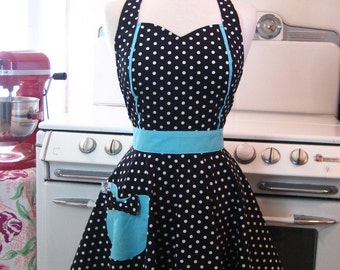 Retro Apron Polka Dot Black and White with Aqua MAGGIE